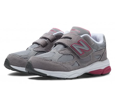 New Balance Little Kids Vecro 990 Grey with Pink Pop