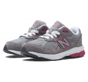 New Balance Little Kids 990 Lace up Grey with Pink Details