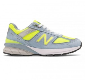 new balance women's 990v5 grey/yellow hi-lite