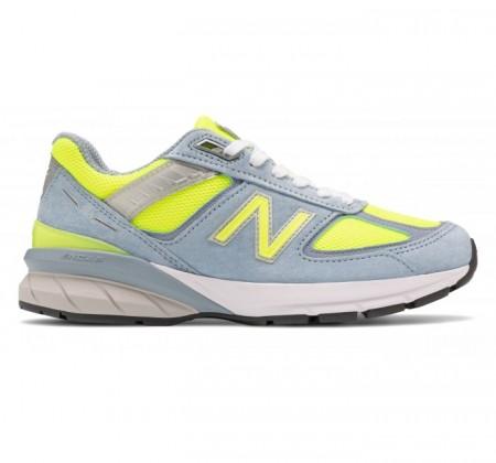 new balance women's 990v5 grey/yellow hi-lite